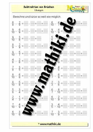 Subtraktion von Brüchen - ©2011-2016, www.mathiki.de - Ihre Matheseite im Internet #math #fraction #arbeitsblatt #worksheet