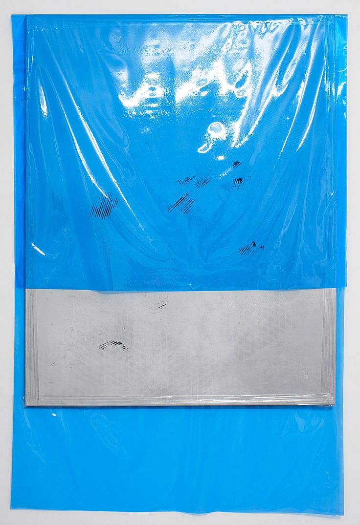 Michaela Zimmer 151204 2015 Acrylic, lacquer, spray paint, and PE film on canvas 190 x 130 cm