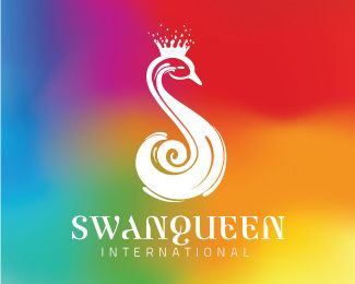 SWAN QUEEN INTERNATIONAL Logo design - This logo is ideal for a business related to: home decor brand, furniture brand, wedding planner, wedding services, florist, high end shop, fine dining restaurant, kitchen, bar, club, flower shop, fashion brand, fashionwear, liquor brand, vodka brand, gin brand, liquor company, fashion designer, interior designer, artist, home architecture, art, health food, organic food brand, organic cosmetics brand, clothing store, jewellery, jewelry store, jewelry…