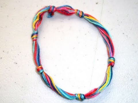 How to make a simple thread bracelet - YouTube
