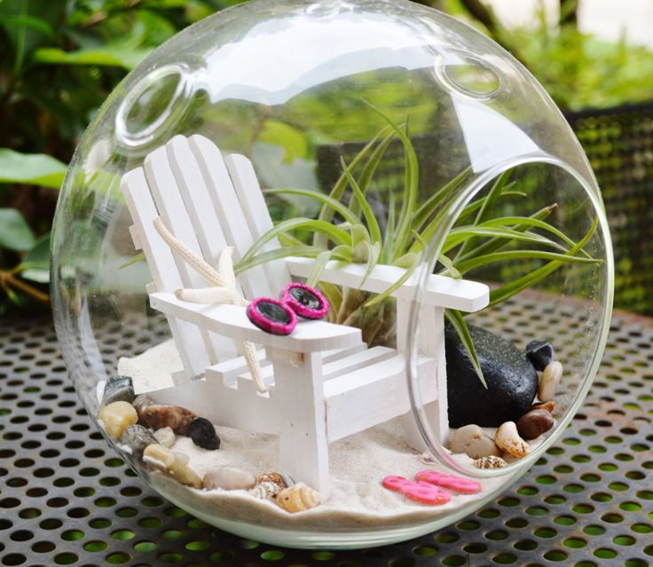 "Beach Terrarium ~ White Adirondack Chair with Sunglasses and Flip Flops ~ Air plant ~ 7"" Glass Round Globe ~ Beach Decor ~ Great Gift Idea by BeachCottageBoutique on Etsy"
