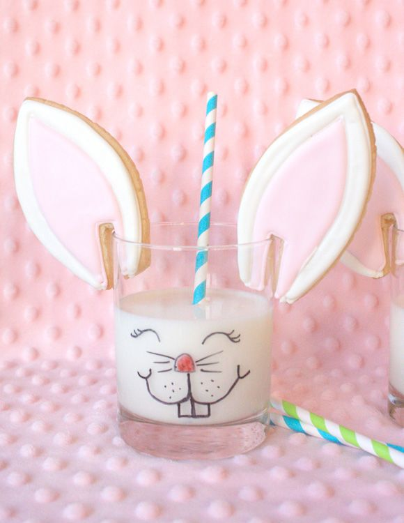 Bunny Ear Cookies and Milk - so cute for Easter!