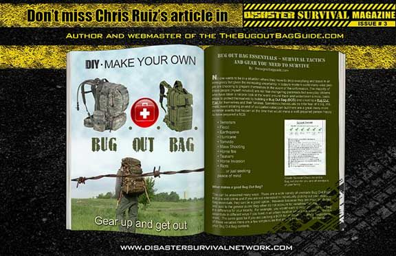 Our Bug Out Bag Essentials article is featured in Disaster Survival Magazine