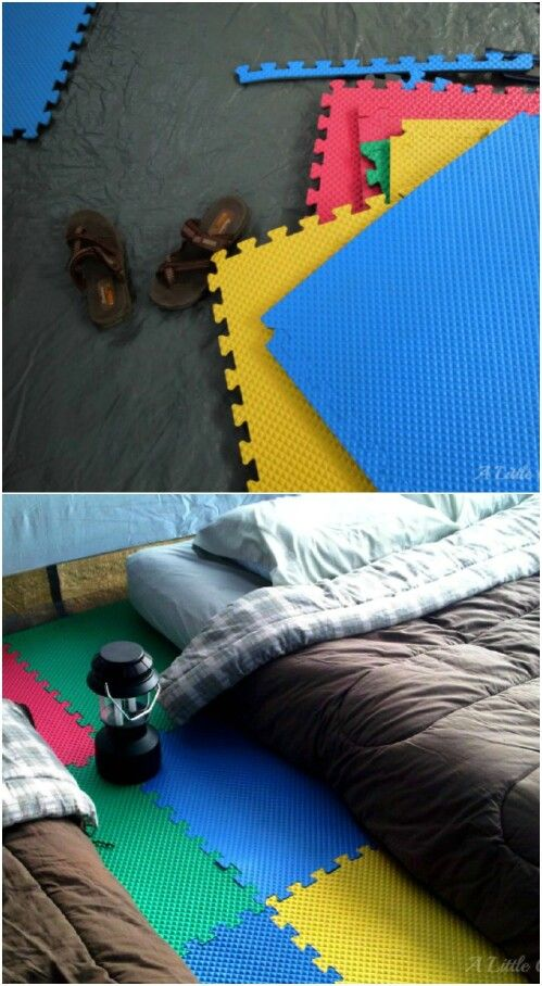"""Instead of really """"roughing it"""" and ending up with an achy back and very little sleep, use foam pads to make then floor of your tent more comfortable. These little colorful foam tiles are not terribly expensive, and they will help you to avoid sleeping on rocks and twigs that may be under your tent. Plus, they help to spruce up the interior of your tent, too."""