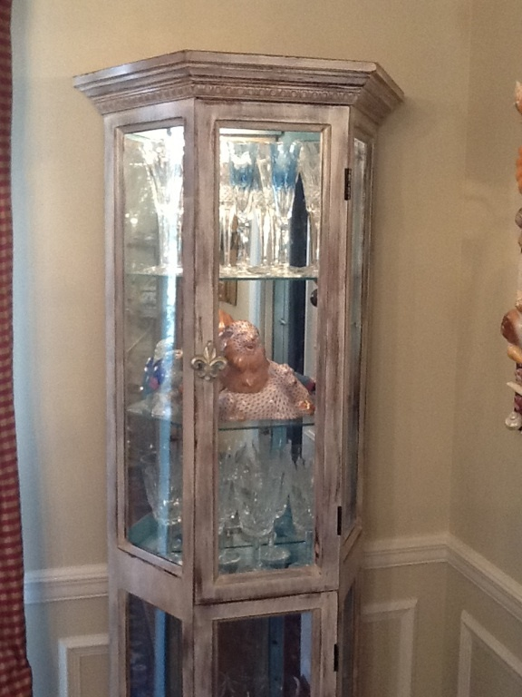 An old oak curio cabinet gets a makeover! I painted the ...