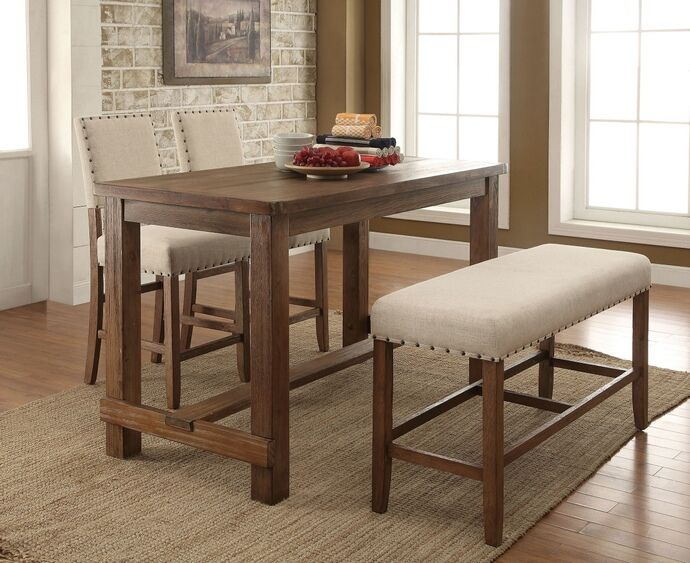 "4 pc Sania collection contemporary style natural tone finish wood counter height dining table set with padded chairs. Set includes table and 2 chairs and one bench with padded seats. Table measures 60"" x 30"" x 36"" H. Chairs measure 19"" x 22 1/2"" x 42 3/4"" H. Bench measures 44"" x 16"" x 25"" H. Additional chairs also available separately. Some assembly..."