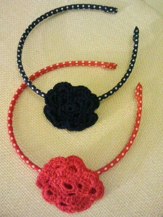 Diademas de lunares con flor de ganchillo diademas - Diademas de ganchillo ...