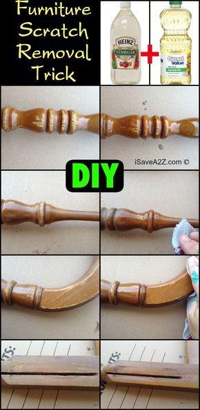 DIY Oil and Vinegar Furniture Scratch Removal Trick: 1 part distilled vinegar 1 part canola or olive oil