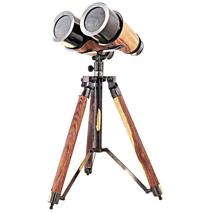 "Old Modern Handicrafts AK018 8"" Binocular with Wood/Brass Stand"