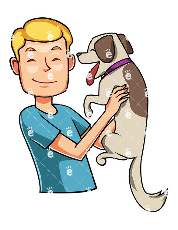 A Happy Man Greeting Excited Dog, Holding Him Up Near His Face:  #adorable #appeased #appreciate #bestfriend #bestfriends #BFF #blond #buddies #buddy #can'tcomplain #cartoon #caucasian #character #clipart #content #contented #cute #dog #dogtraining #doggie #dogs #down-time #drawing #enjoy #enjoying #excited #friend #friends #friendsforever #fulfilled #furry #furryone #gentle #graphic...