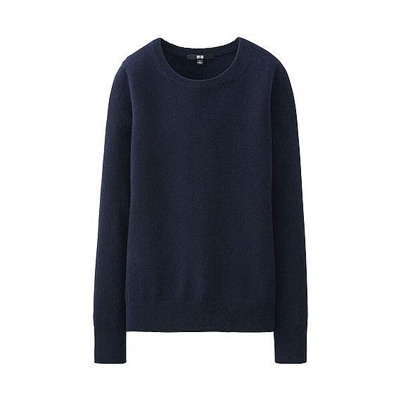 WOMEN Cashmere Round Neck Sweater, dark navy Uniqlo