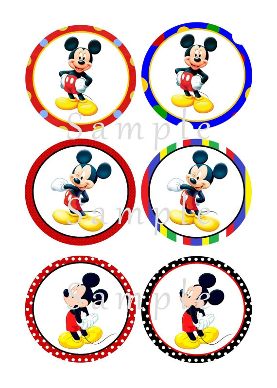 Girls or Boys Mickey Mouse Printable Birthday Cupcake Toppers