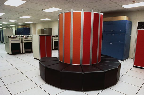 Cray-1, 1976  At the time of its release, the Cray-1, above, was the fastest computing machine at the world. Despite its price tag — between $5 and $10 million — it sold well. It is one of the many machines designed by Seymour Cray, a computer architect who devoted his life to the creation of so-called supercomputers, machines which prioritized processing capacity and speed of calculation.