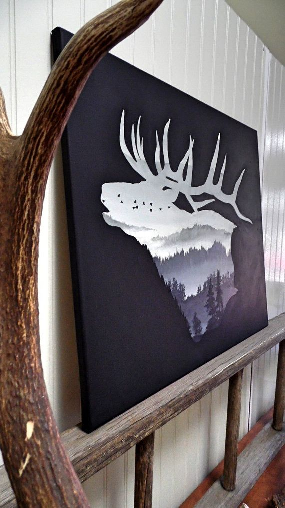 Elk bugling silhouette by TheCountryHoneybee on Etsy