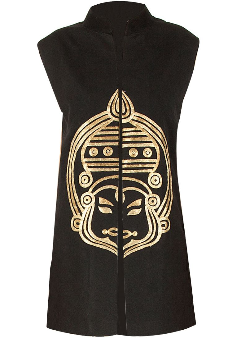 Black kathakali waistcoat available only at Pernia's Pop-Up Shop