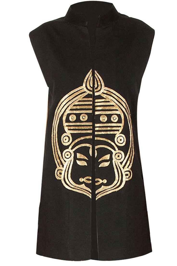 Black kathakali waistcoat BY NIKHIL THAMPI. Shop now at perniaspopupshop.com #perniaspopupshop #clothes #womensfashion #love #indiandesigner #NIKHILTHAMPI #happyshopping #sexy #chic #fabulous #PerniasPopUpShop