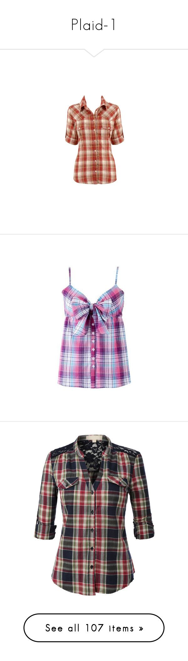 """Plaid-1"" by missy-smallen ❤ liked on Polyvore featuring tops, shirts, blusas, peacock feather shirt, shirt top, peacock shirt, peacock top, peacock print top, tanks and casual tops"