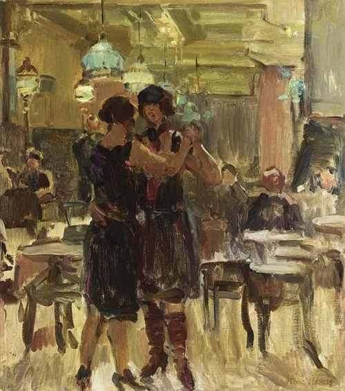 """""""Lovers"""" """" In the Dance-Hall (1893) """" by Isaac Israels (1865 - 1934)"""