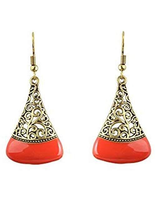 0b43159ab9175 Waama Jewels Dangle & Drop Gold Plated Orange Color Rajwada Theme ...