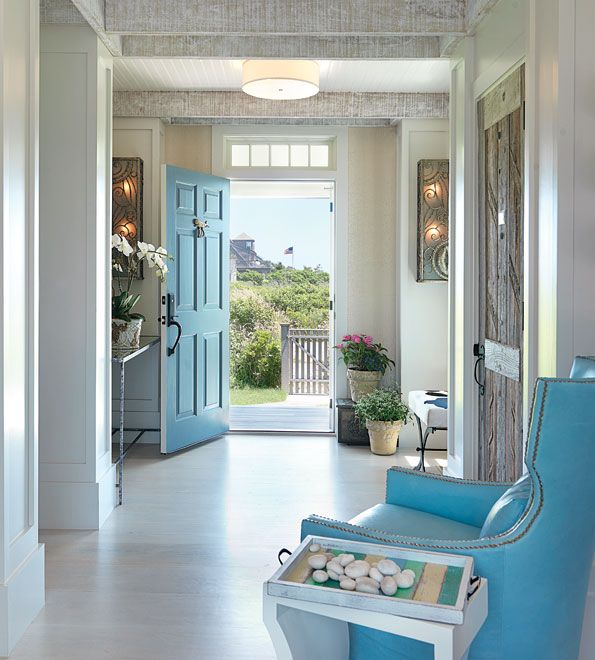 Foyer: The Doors, Blue Doors, Color, Chairs, Blue Front Doors, Coastal Home, Beaches Houses, Homes, Beaches Cottages