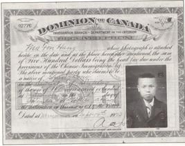 This is a certificate from 1922 to state that a Chinese immigrant paid $500 to the Canadian government. At the time, this head tax was placed on all Chinese immigrants and many had to pay the government to live here. However, on July 1, 1923, the government put the Chinese Exclusion Act into place which stopped the immigration of Chinese immigrants to Canada. The Chinese refer to this as Humiliation Day. This exclusion of foreigners showed Canada's xenophobia of immigrants in the 1920s.
