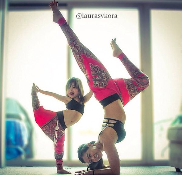 Mother & Daughter yoga pose together - so very cute!