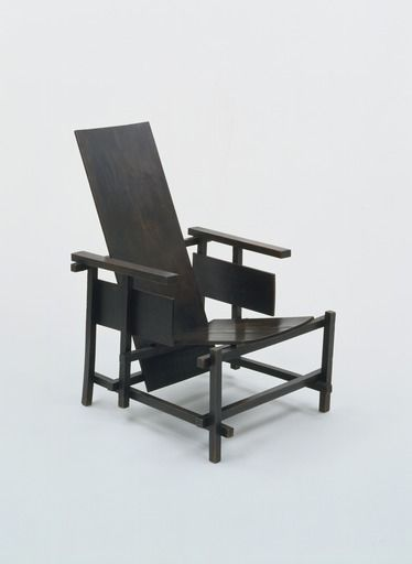 "Gerrit Rietveld Prototype for Red/Blue Chair 1917-18 Medium Unpainted wood Dimensions 40 3/4 x 25 5/8 x 31 1/4"" (103.5 x 65.1 x 79.3 cm), seat h. 12 1/2"" (31.8 cm) At MOMA (posted by FTapia)"