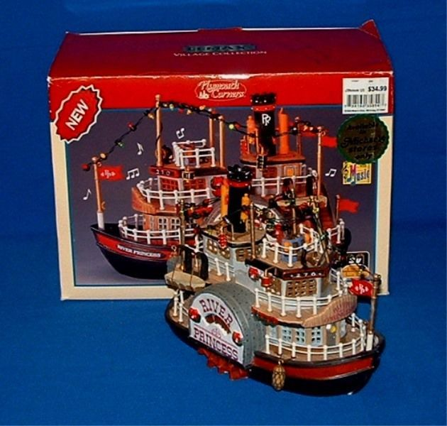 Lemax Plymouth Corners Village Collection Lighted & Musical River Princess Boat