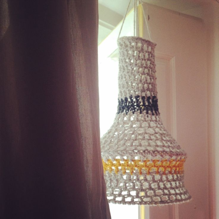 Crochet lamp blue.yelow