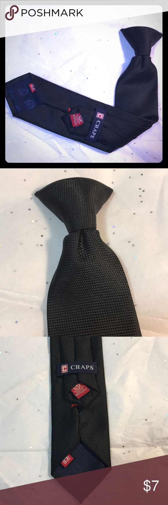 """Boys clip on tie. Like new, black silky embossed clip on tie.  Polyester.  14"""".  Spotless. Chaps Accessories Ties"""