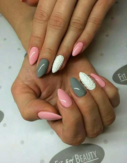 Pink white grey sweater christmas nails