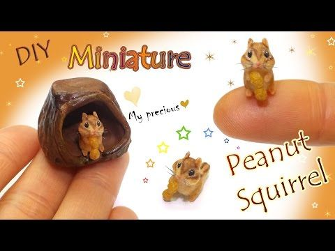 Squirrel with peanut & tree trunk house clay tutorial