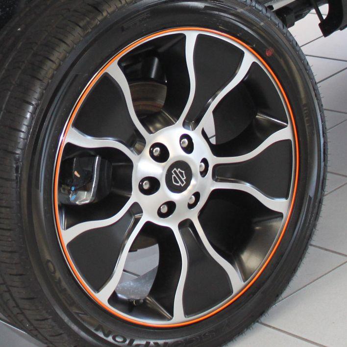 Black and Orange RimPro-Tec's on the Harley Davison