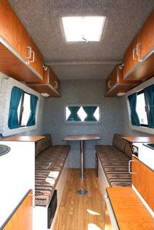 The Interior of Little Joe Compact lightweight Trailer with bed put away