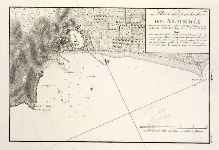 Plano del Fondeadero de Almería (Carta náutica, 1813). Fuente: Biblioteca Virtual del Ministerio de Defensa. Proveedor: Hispana.