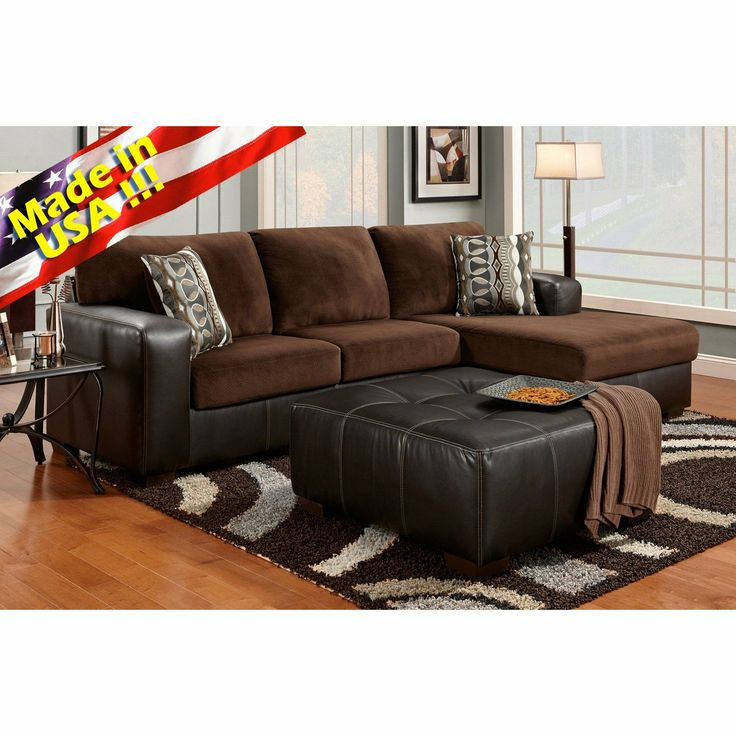 Delightful Furnituremaxx Cumulus Brown Chocolate Two Toned Sectional Sofa Chaise And  Ottoman Set, Made In USA : Sectional Sofas Amazing Ideas
