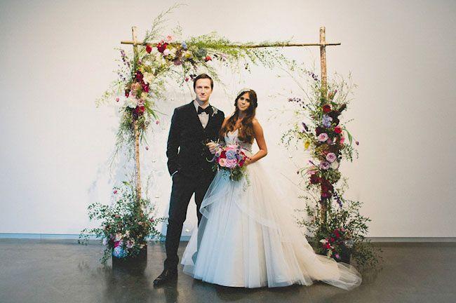 watercolor inspired ceremony arch
