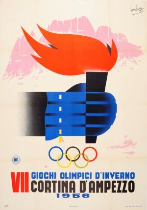 Cortina d'Ampezzo VII Olympic Winter Games, 1956 - original vintage poster by Mario Bonilauri listed on AntikBar.co.uk