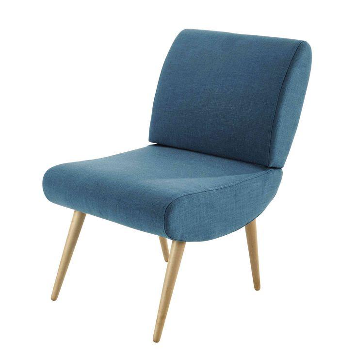 Fabric vintage armchair in peacock blue Cosmos