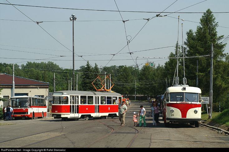 Collection of historic cars public transport in Ostrava. Tram T2-681 was built in 1961, trolleybus Tatra T400 from 1954 and bus Karosa B731 (on the left).