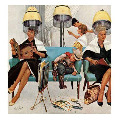 """Cowboy Asleep in Beauty Salon,"" May 6, 1961 Giclee Print at AllPosters.com"