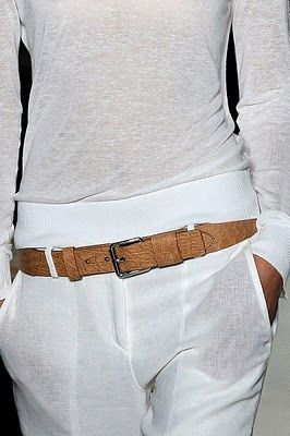 white and palest leather belt
