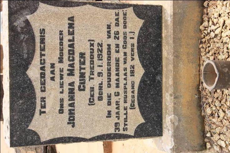 GUNTER Johanna Magdalena nee TREDOUX -1922 Kwazulu-Natal, VRYHEID, Main cemetery