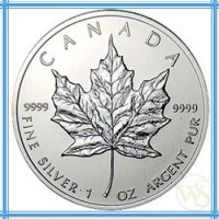 Canadian Maple Leaf has been minted since 1988 and issued annually by the government of Canada. It is highest among international Silver Coins because of its face value of $5 Canadian dollars. Weight is 1 oz and the purity is 99.99% silver.