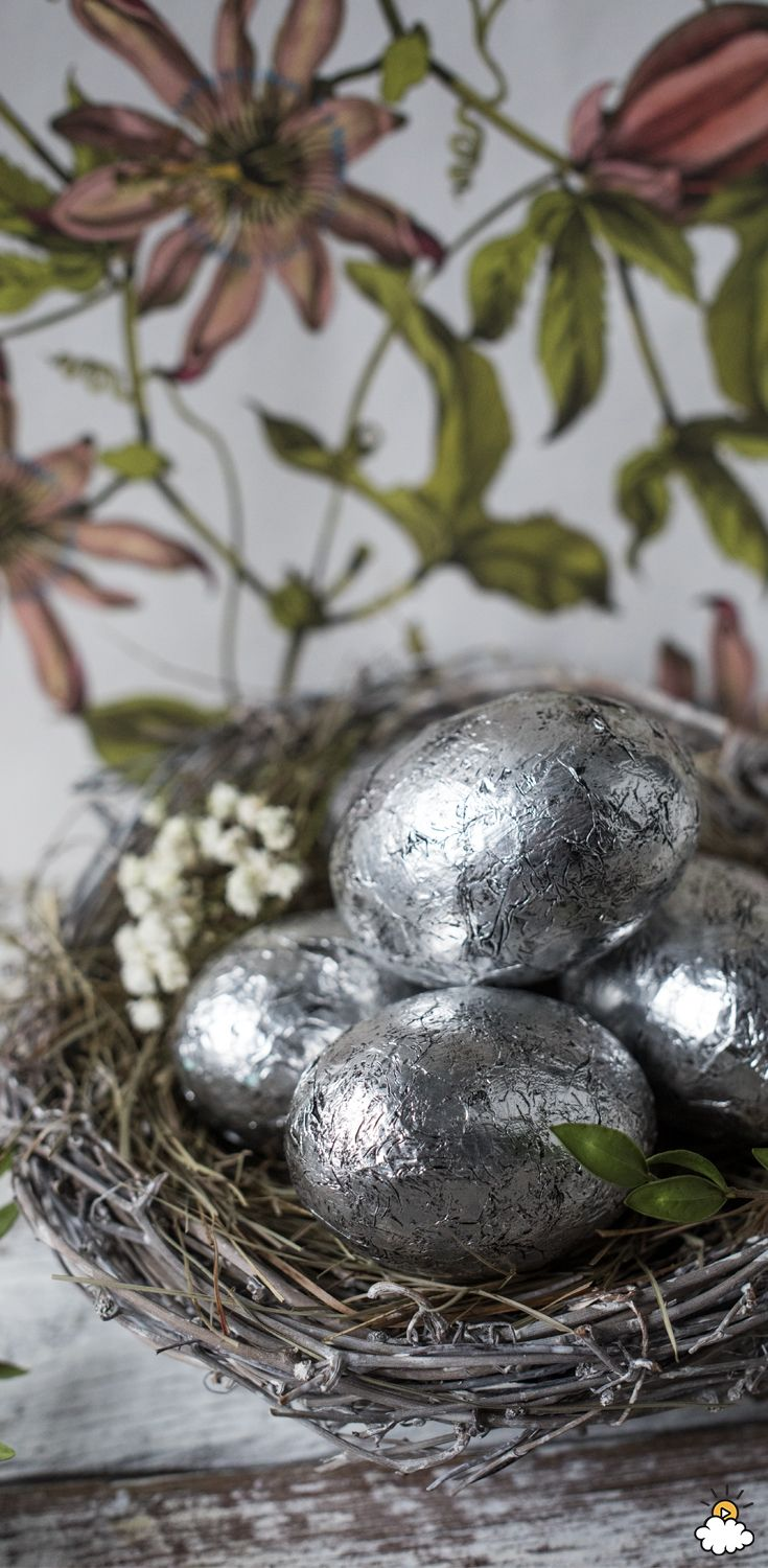 This simply elegant Easter Egg DIY Craft is a beautiful way to create eye-popping Easter holiday decorations for your home. All you need are some craft eggs, foil and glue!