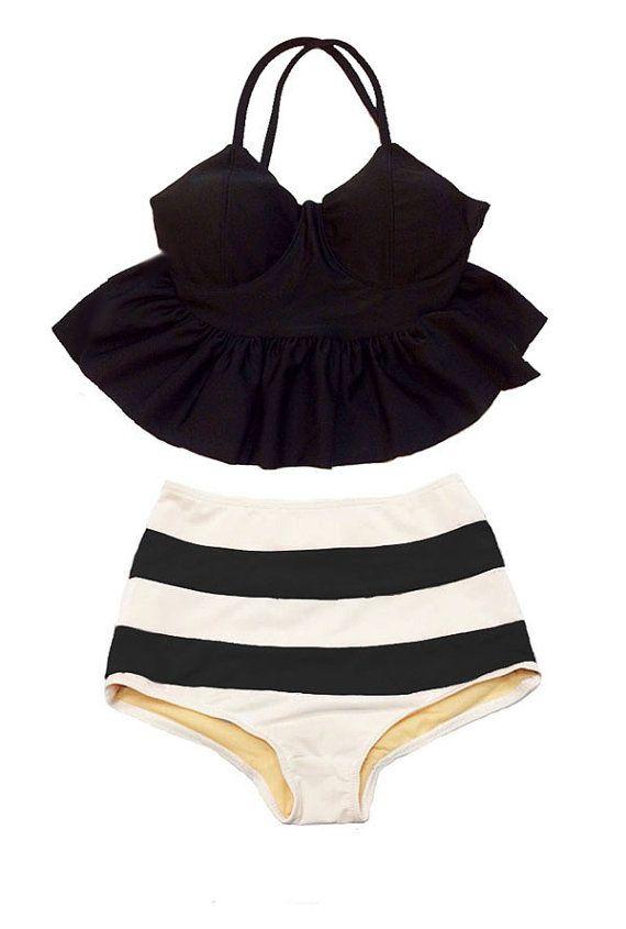 Negro largo de correa Peplum Tankini Top y rayas alta talle cintura pantalones cortos abajo traje de baño Bikini traje de baño de natación traje de baño S M L set