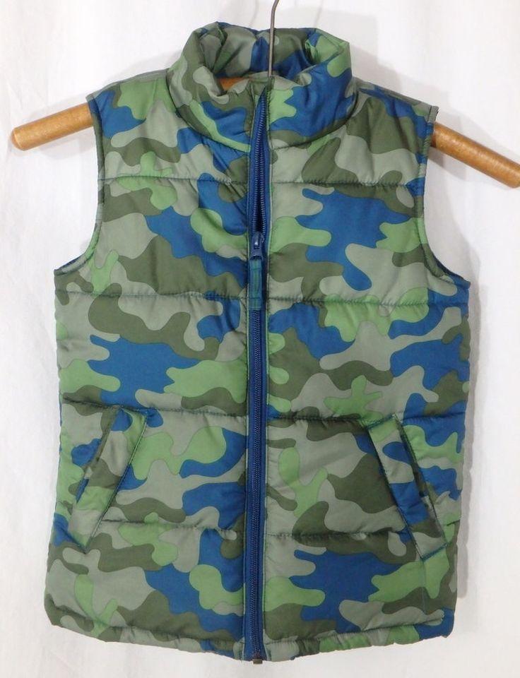 Boys Lands' End Kids Camouflage Vest Size Small 4 Puffer Vest Green Blue Gray #LandsEnd #Vest #Everyday