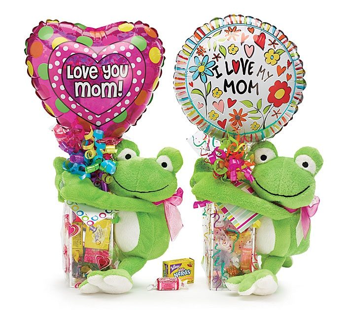 """#burtonandburton Mother's Day Candy Box + Frog plush + 9"""" Air Filled Foil Balloon makes a great all-in-one gift. #mom"""