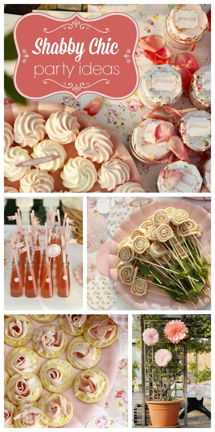 A lovely Shabby Chic birthday party with lots of roses and delicious party food!  See more party planning ideas at CatchMyParty.com!