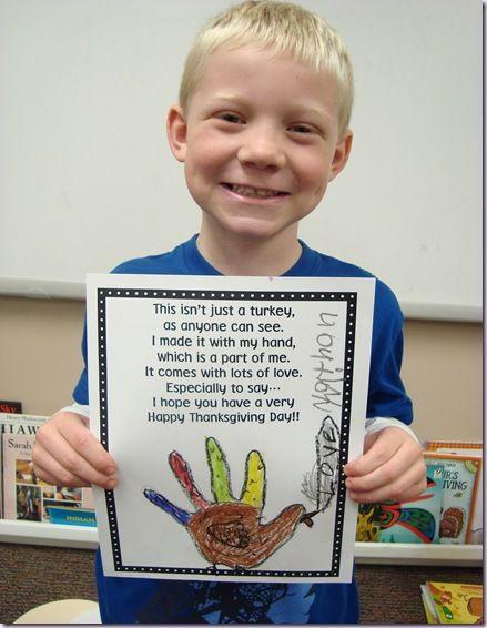 Sweet poem to go with hand turkey